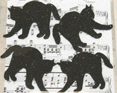 4 Black Glitter Scary Cats