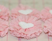 6 Small Pale Pink/White Heart Crepe Paper Rosettes