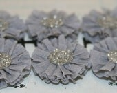 6 Small Dove (light) Grey Crepe Paper Rosettes