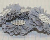 4 Dove Grey Crepe Paper Flowers