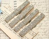 4 Genuine German Silver Glass Glitter Decorative Clothespins Magnets