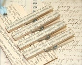 Vintage French Text  and Glitter Decorative Clothespin Magnets