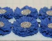 6 Small Royal Blue Crepe Paper Flowers