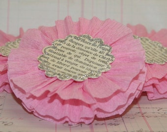 Large Pink Crepe Paper Flowers