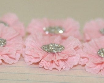 6 Small Pale Pink Crepe Paper Rosettes