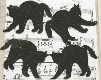 4 Black Glitter Scary Cats