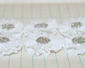 6 Small White Crepe Paper Flowers
