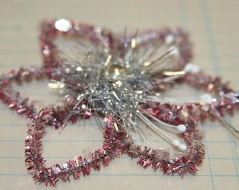 Handmade Vintage Style Pink Star Snowflake Ornament