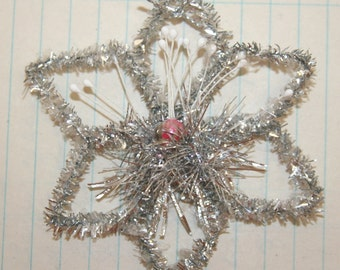 Handmade Vintage Style Star Snowflake Ornament w/Pink Vintage Mercury Glass Bead Center