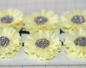 6 Small Pastel Yellow Crepe Paper Rosettes