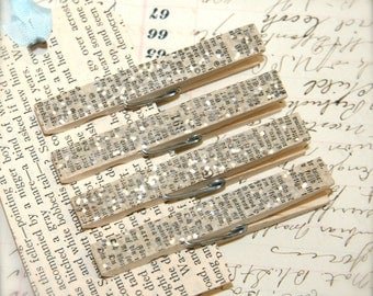 Antique German Bible Page and Glitter Decorative Clothespin Magnets