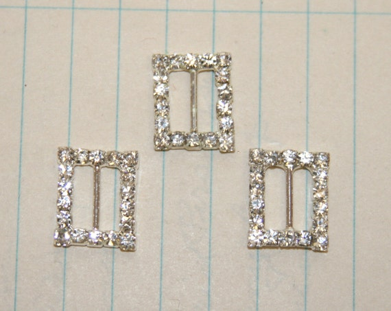 3 Rectangular Rhinestone Buckles
