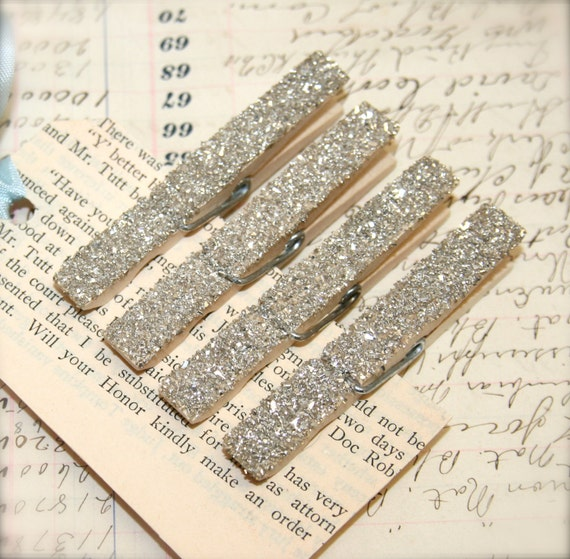 4 Genuine German Silver Glass Glitter Decorative Clothespins Magnets