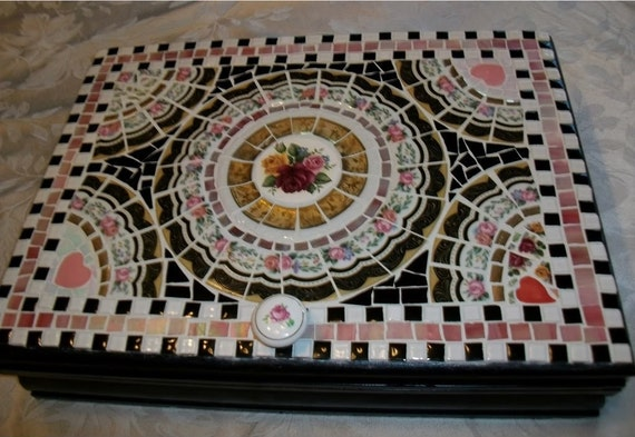 Mosaic Jewelry Keepsake Box Made from Old Silverware Chest , Pink and Black