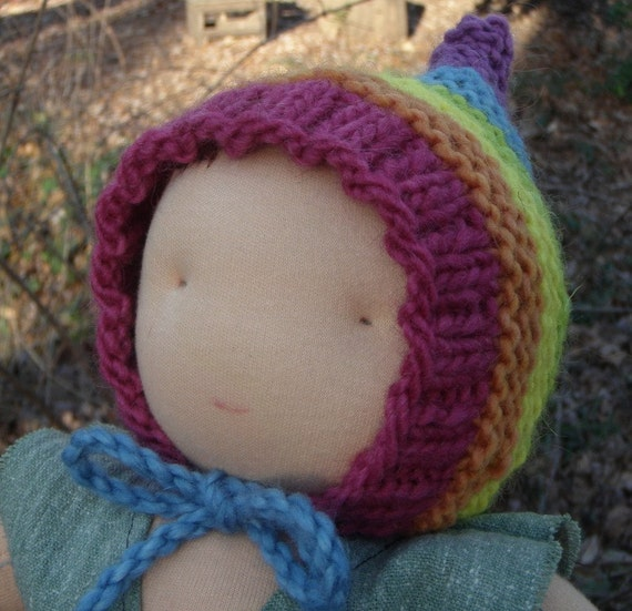 Rainbow Pixie Gnome Hat for Large Waldorf Doll--Wool and Mohair Plant Dyed Yarns
