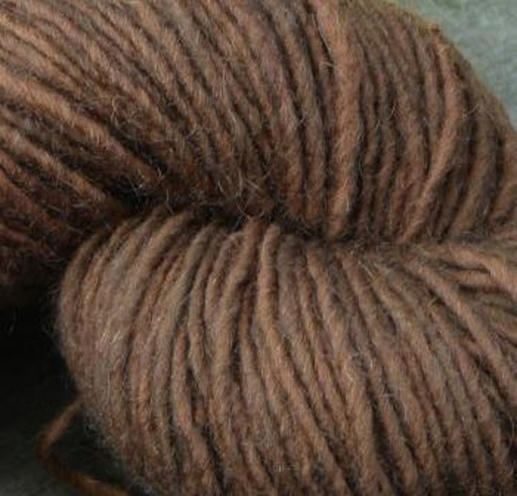 Deep Oak  Brown  Yarn--4 Ounce Worsted Skein--Wool Mohair Blend--180 Plus Yards--Plant Dyed