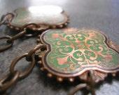 Green Enamel Medieval Cross Chandelier Niobium Earrings