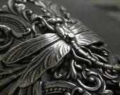 Wide Silver Cuff Bracelet Dragonfly Jewelry
