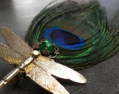 Peacock Feather Jewelry Dragonfly Brooch Woodland Fantasy