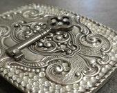 Silver Womens Belt Buckle Rhinestone Skeleton Key