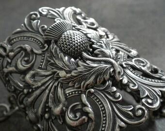 Outlander Jewelry Scottish Thistle Silver Cuff Bracelet
