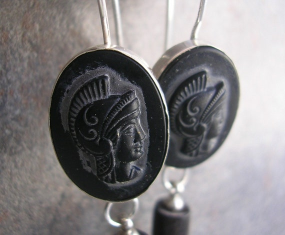 Black and Silver Earrings Roman Gladiator Neoclassical