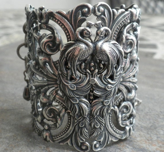 Extra Wide Silver Filigree Peacock Cuff Fashion Bracelet