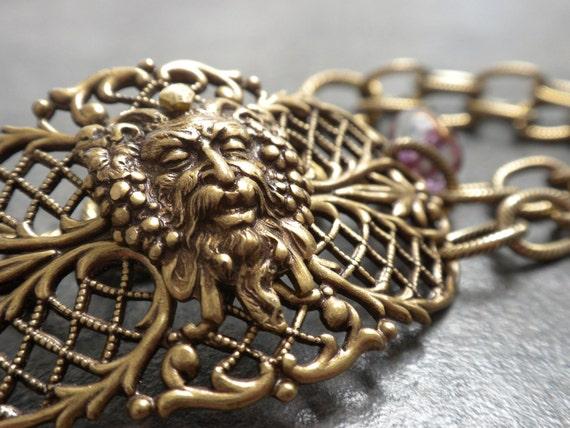 Bacchus Greek God of Wine Brass Filigree Bracelet