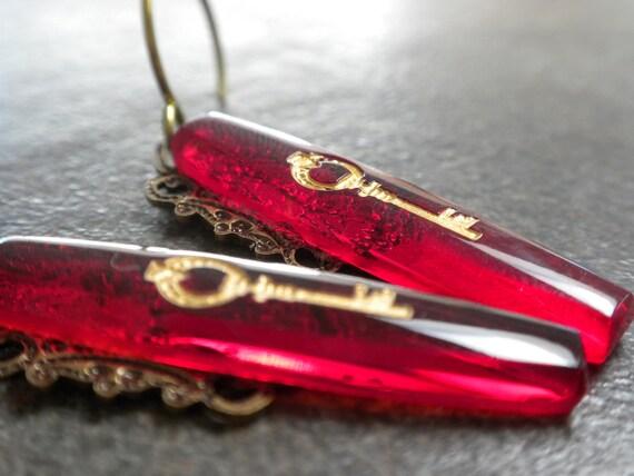 Skeleton Key Earrings with Niobium Ear Wires