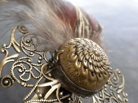 Pheasant Feather Brooch Woodland Renaissance