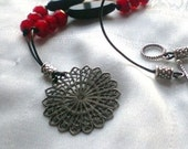 Onyx and crystal / Necklace OOAK