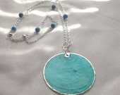 Blue shell pendant and necklace