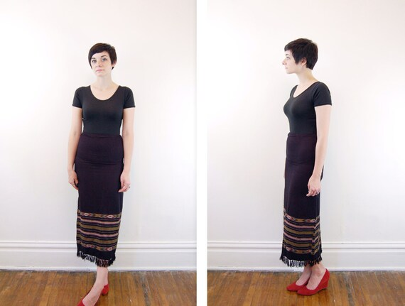 Vintage Southwestern Maxi Skirt Black with Tassels - XS