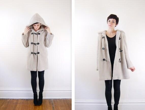 Faux Fur Grey Toggle Coat / Machine Washable - M/L