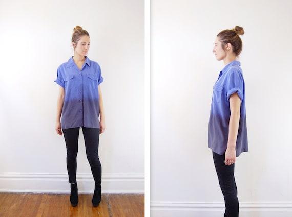 Blue Ombre Silk Blouse - L/XL