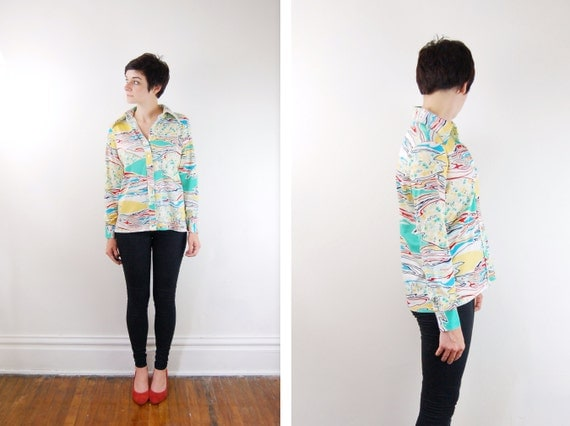 Vintage 1970s Blouse - Psychedelic  - S