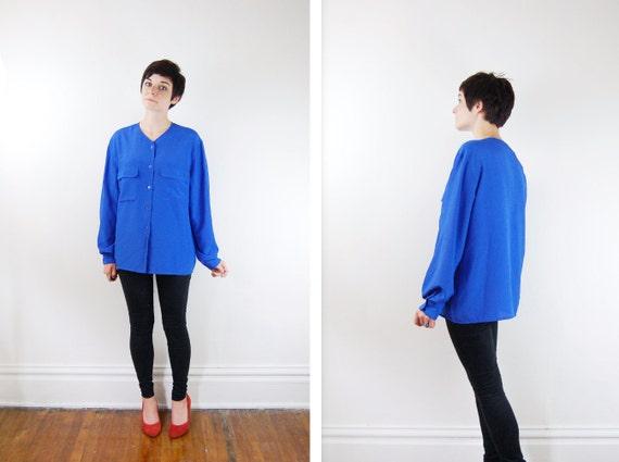 1980s Blue Silky Blouse - M/L