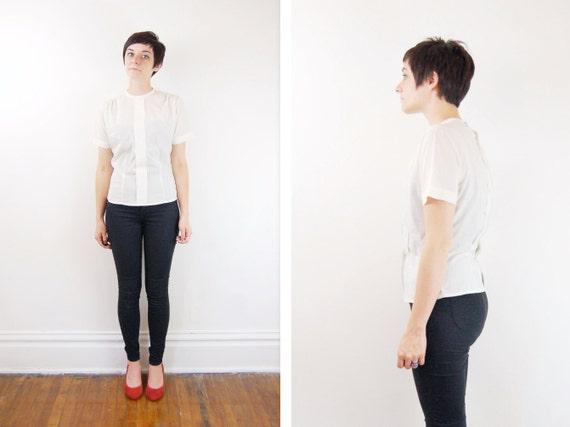 1950s White Short Sleeve Blouse - S/M