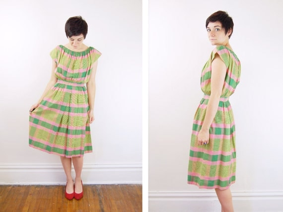 1950s Pink and Green Plaid Dress - S/M As Is