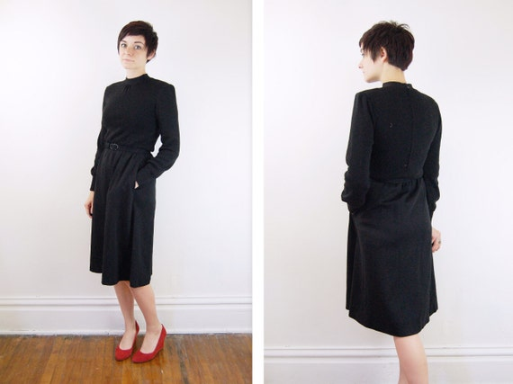 1970s Black Long Sleeve Knit Dress - S