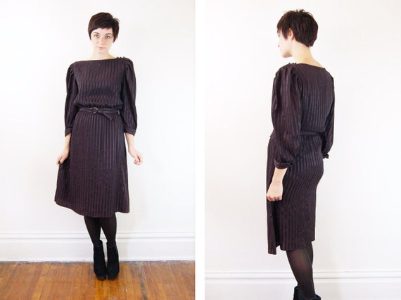 1980s Black Striped Dress - M