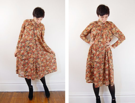 Floral Text Dress / 1970s Sheer Floral Dress -  M