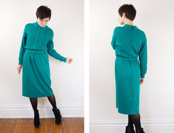 1980s Emerald Sweater Dress - S/M