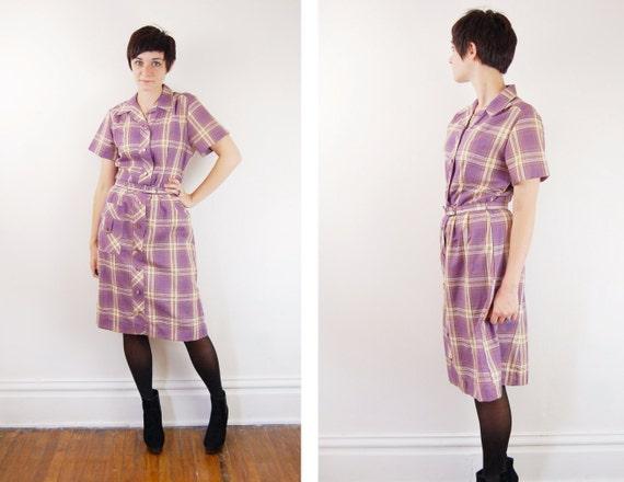 1970s Shirtdress Purple Plaid - S/M
