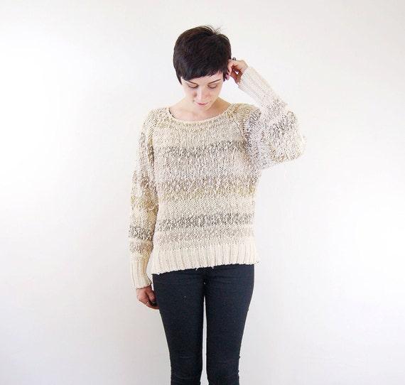 Nubby Cream Striped Sweater / Slouchy Sweater - M