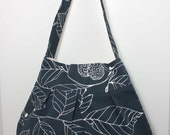 the charlie bag - - navy and white leaves - - pleated canvas shoulder bag
