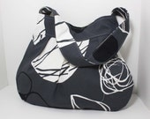 the charlie bag - - gray black and white fruits - - pleated canvas shoulder bag