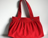 the foxtrot bag - - apple red - - LAST ONE - - pleated canvas shoulder bag