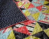 baby quilt for crib or wall hanging // hourglass boy or girl quilt // summertime bright modern fabrics // READY TO SHIP