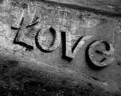 Photo Print Black and White Love Steps Graffiti 5X7 Fine Art